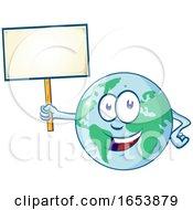 Cartoon Happy Earth Mascot Holding A Blank Sign