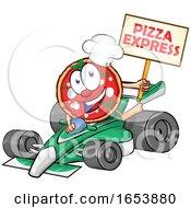Cartoon Pizza Mascot Holding An Express Sign Over A Race Car