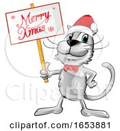 Cartoon Happy Gray Cat Holding A Merry Christmas Sign