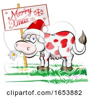 Poster, Art Print Of Cartoon Happy Black And White Holstein Dairy Cow With A Christmas Sign