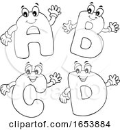 Cartoon Black And White ABCD Letter Characters