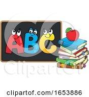 Cartoon Apple And Books And ABC On A Blackboard