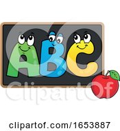 Cartoon Apple And ABC On A Blackboard by visekart
