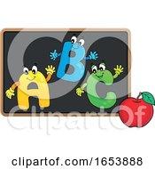 Cartoon Apple And ABC On A Blackboard