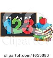 Cartoon Apple On Books And Numbers On A Blackboard