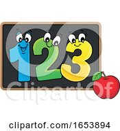 Cartoon Apple And Numbers On A Blackboard