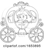 Black And White Fairy Tale Princess In A Carriage