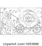 Black And White Fairy Tale Princess In A Carriage Near A Castle