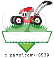 Clipart Picture Of A Red Lawn Mower Mascot Cartoon Character Mowing Grass Over A Blank White Label by Toons4Biz #COLLC16539-0015