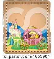 Border Of A Fairy Tale Princess In A Carriage Near A Castle
