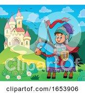Horseback Knight By A Fairy Tale Castle