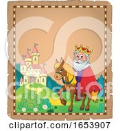 Fairy Tale Border Of A Castle And Horseback King