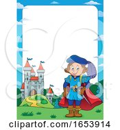 Fairy Tale Border Of A Castle And Prince