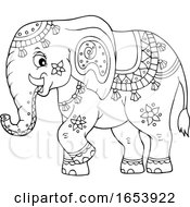 Black And White Cute Indian Elephant