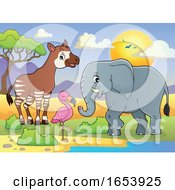Cute Elephant Okapi And Flamingo