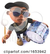 3d Cartoon Black African Hiphop Artist Character Beating A Bass Drum