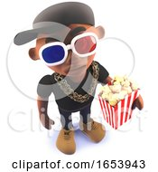 Cartoon Black Hip Hop Rap Singer In 3d Wearing 3d Glasses And Eating Popcorn
