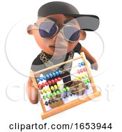 Black Hip Hop Rap Artist Cartoon Character In 3d Holding An Abacus