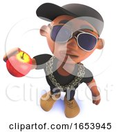 Black Cartoon Hiphop Rapper Character In 3d Eating An Apple