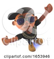 Cartoon Black African Hip Hop Rapper In 3d With His Arms Outspread