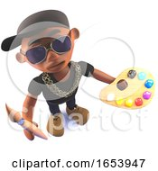 3d Black African Hiphop Rapper Cartoon Character With Paint Brush And Palette