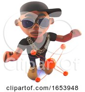 Cartoon Black Hip Hop Rapper In 3d With Nuclear Atom