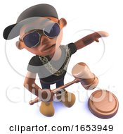 Cartoon Black African Hiphop Rapper In 3d With Auction Gavel Hammer
