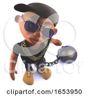 Black 3d Cartoon Hiphop Rap Artist Character With Ball And Chain