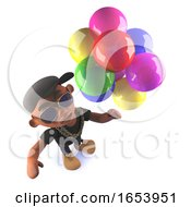 Cartoon Black African American Hiphop Rapper With Balloons