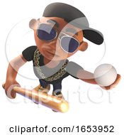 Black African American Hiphop Rap Artist Holding A Baseball Bat And Ball