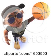 Cartoon Black Hiphop Rap Artist Playing Basketball