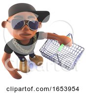 Cartoon 3d Black African Hiphop Rapper Holding An Empty Shopping Basket