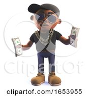 Black 3d Hip Hop Rap Singer Character Holding Wads Of US Dollar Bills