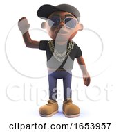 Black 3d Hip Hop Rapper Cartoon Character Waving Hello
