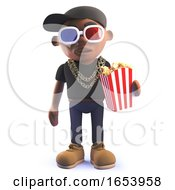Black Hip Hop Rapper Cartoon Character In 3d Wearing 3d Glasses And Eating Popcorn