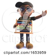 Cartoon Black African Hip Hop Rapper In 3d Holding An Abacus