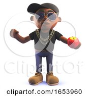 Cartoon African Hip Hop Rapper Character In 3d Holding An Apple