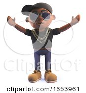 Black Hip Hop Rap Singer Cartoon Character In 3d With His Arms In The Air