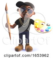 Cartoon Black African Hiphop Rap Artist In 3d Holding A Paintbrush And Palette