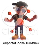 Black Hip Hop Rap Singer Cartoon Character In 3d With A Nuclear Atom