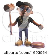 Black Rap Hip Hop Singer In 3d Holding An Auction Gavel