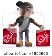 Black Hip Hop Rapper In 3d Carrying Shopping Sale Bags