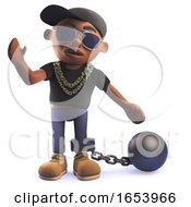 3d Black Hip Hop Rapper Cartoon Character With A Ball And Chain