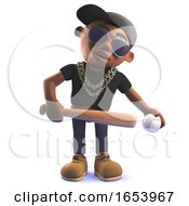 3d Cartoon Black African American Hiphop Rapper In 3d With Baseball Bat And Ball