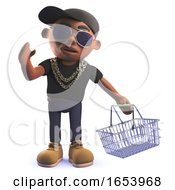 3d Cartoon African American Hiphop Rapper In 3d Holding A Shopping Basket
