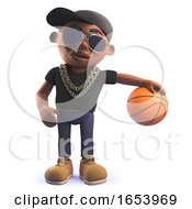 Cartoon 3d Black African American Hiphop Rapper Playing With A Basketball