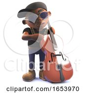 Cartoon 3d Black African American Hip Hop Rapper Playing A Double Bass