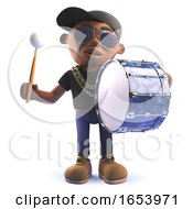 3d Cartoon Black African American Hip Rapper Character Beating A Bass Drum