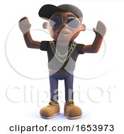 3d Black Hip Hop Rapper Character With His Arms In The Air Cheering
