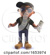 Cartoon Black African American Hiphop Rapper In 3d Holding A Wad Of Dollar Bills